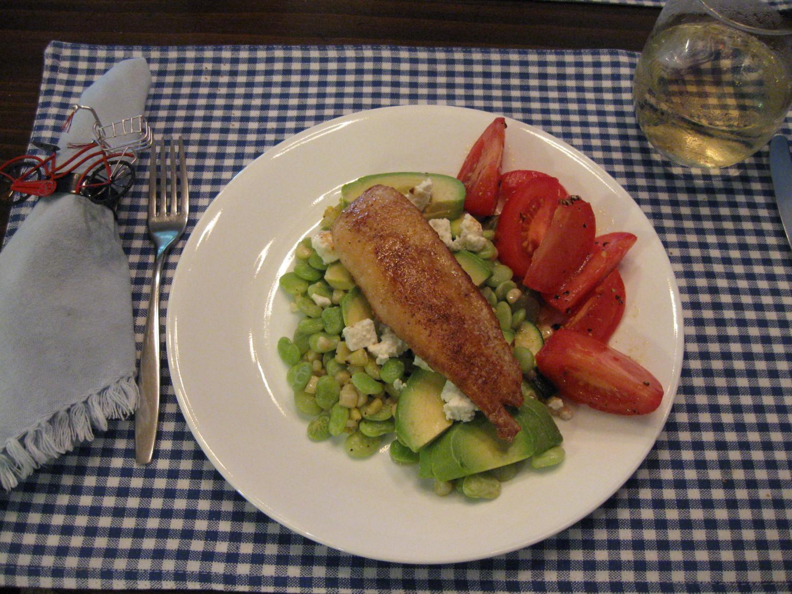 Chicken Succotash with Avocado and Farmer Cheese Recipe ...