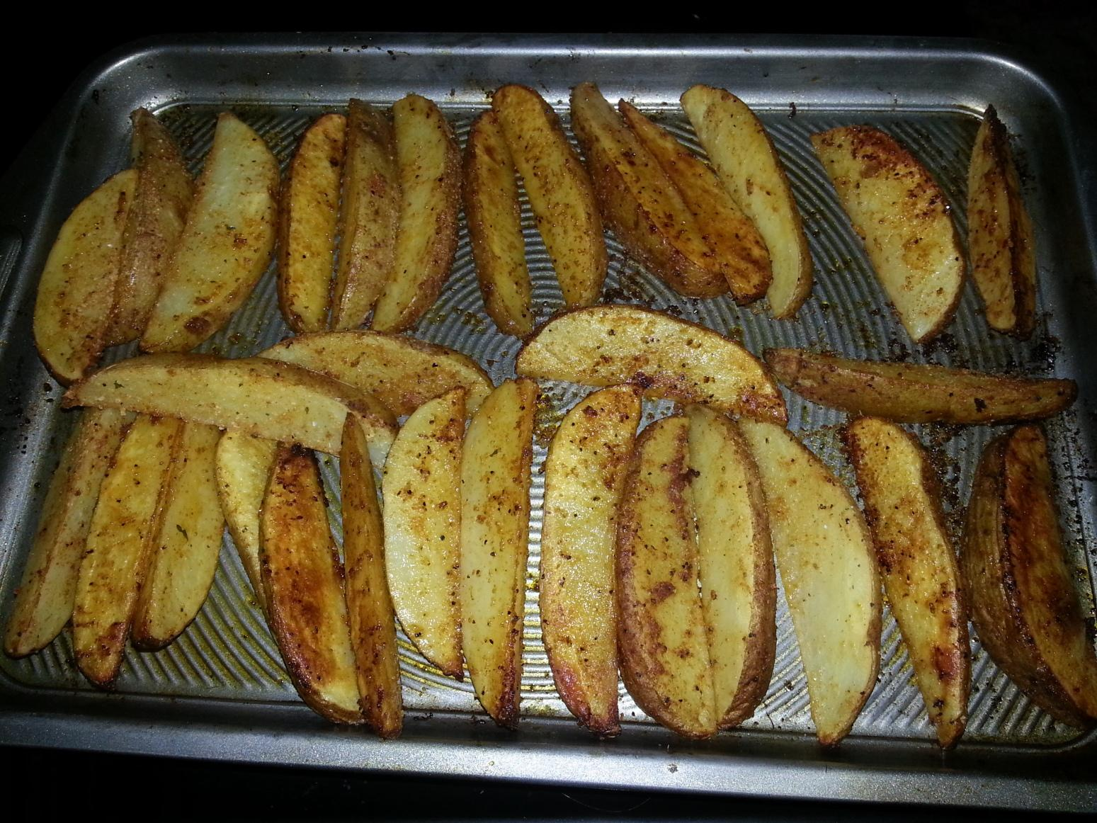 Oven Fried Cajun Potato Wedges Recipe Just A Pinch Recipes