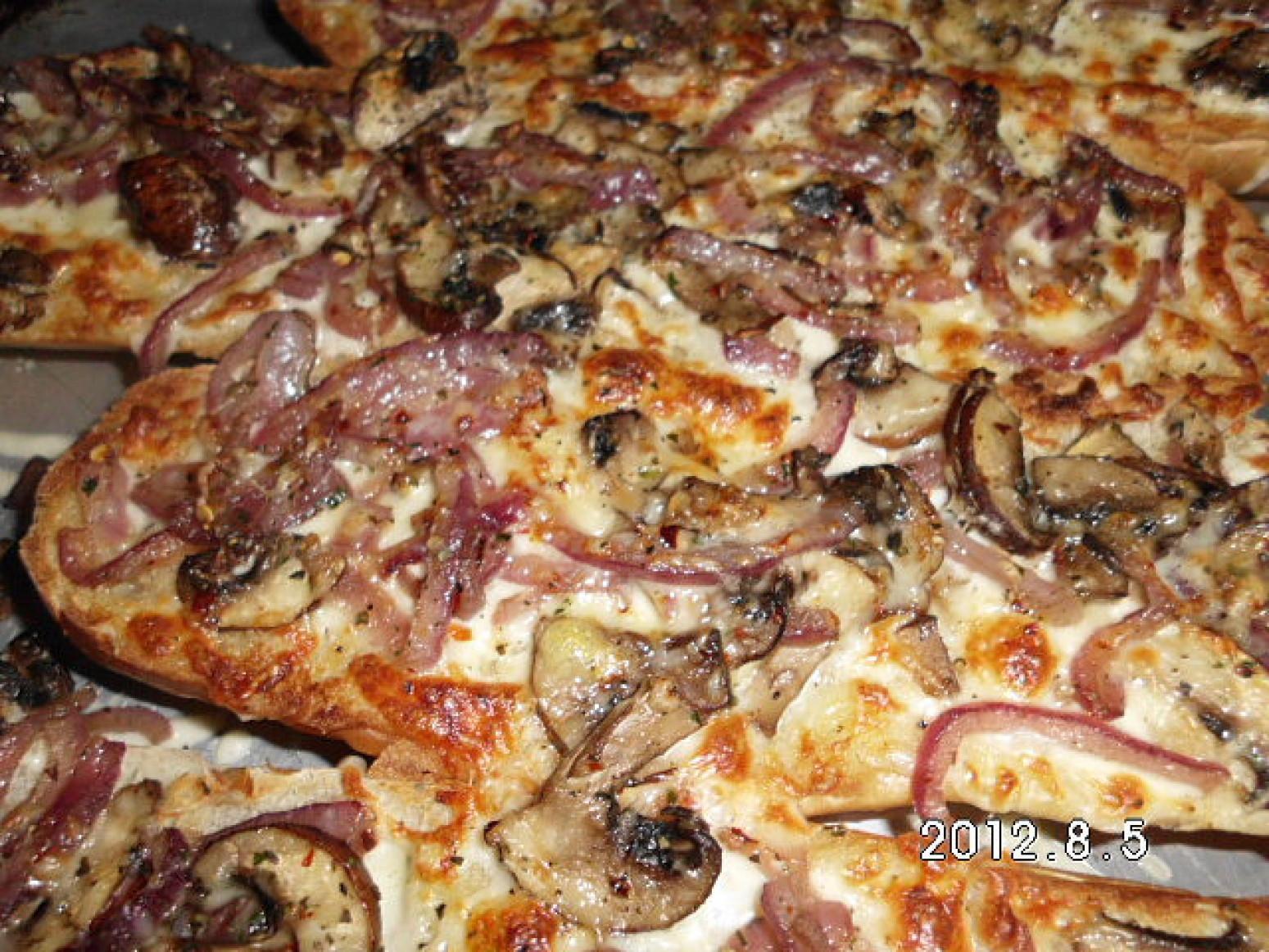 Cheesy onion and mushroom French Bread Recipe