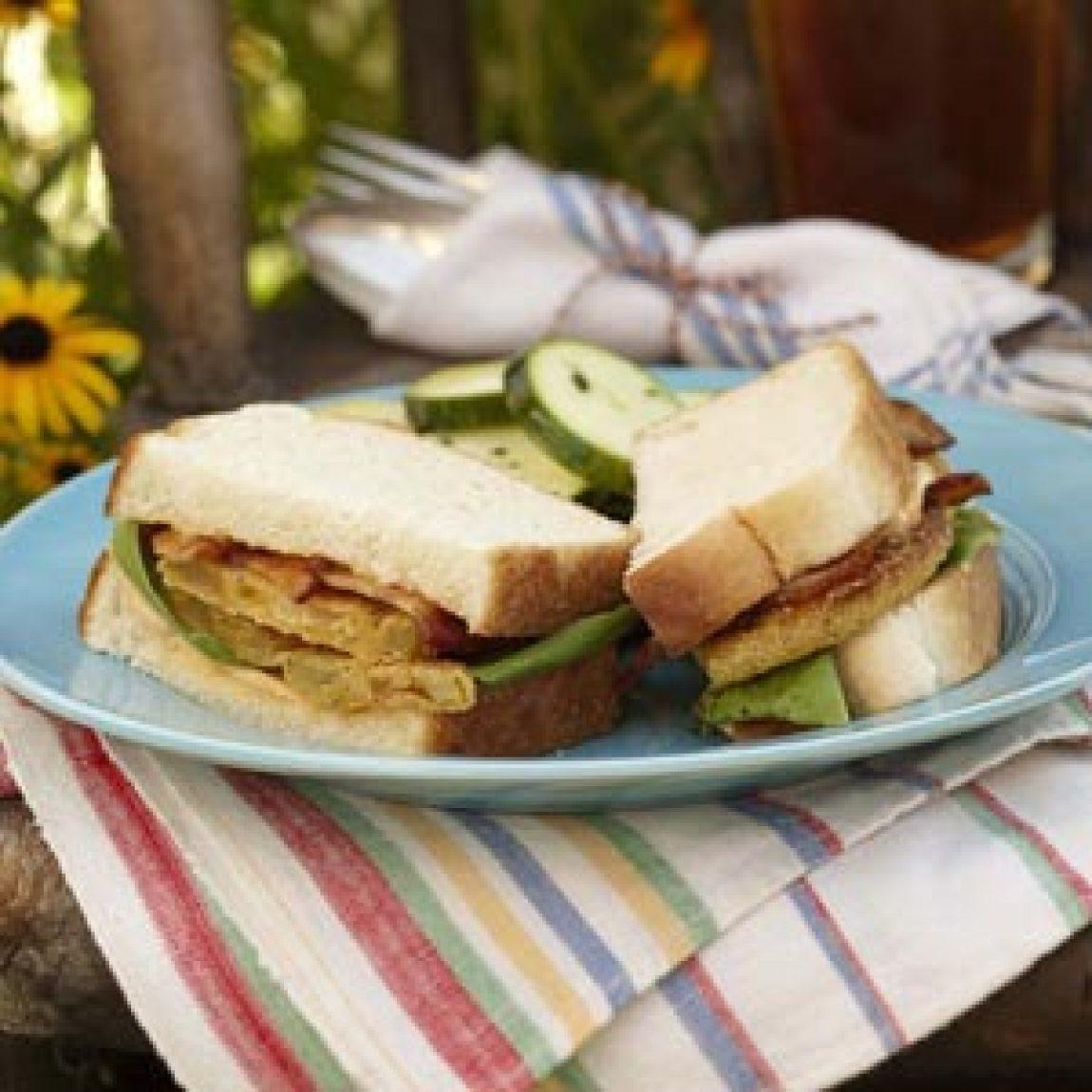 Fried Green Tomato BLTs Recipe | Just A Pinch Recipes