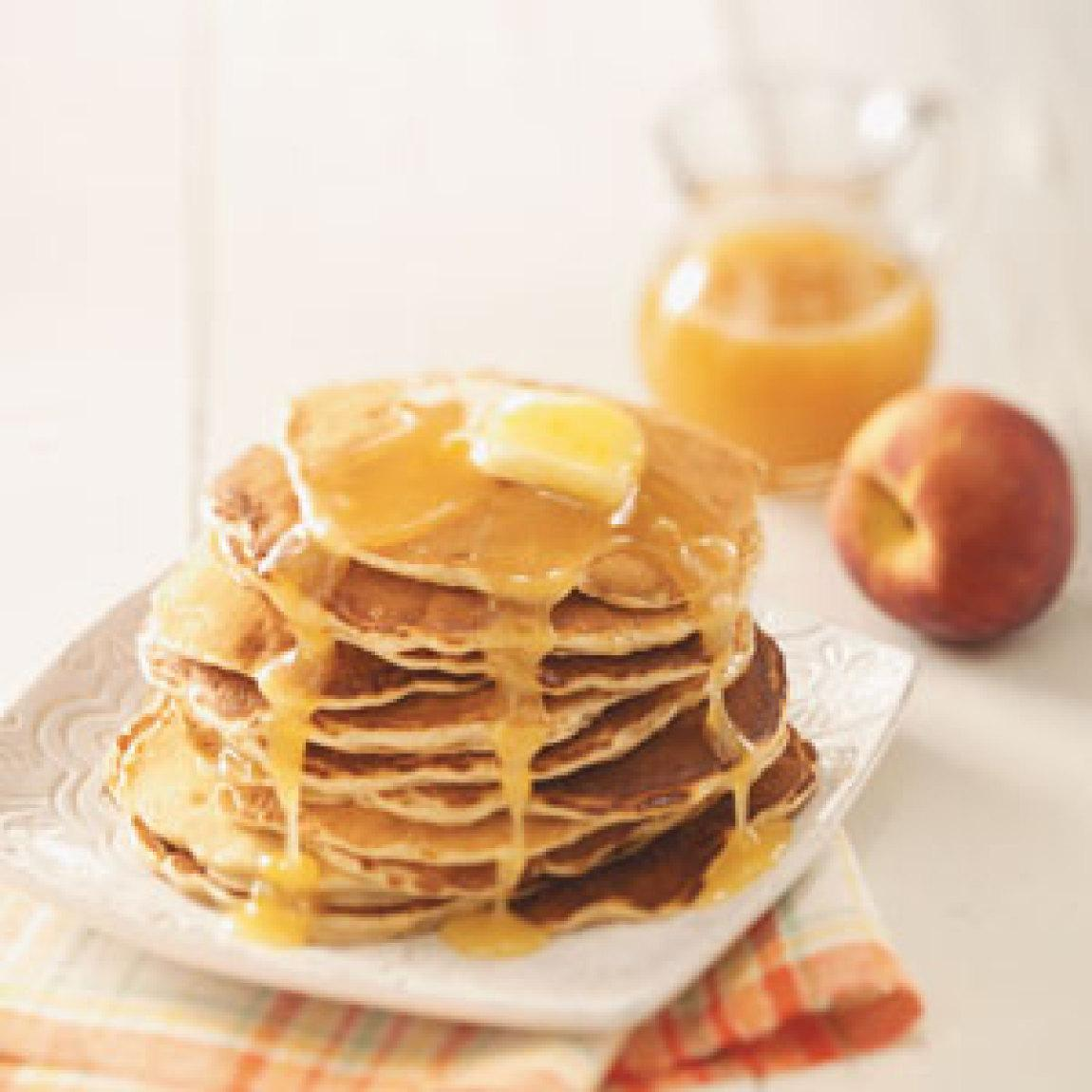 Pancakes With Apricot-Bourbon Sauce Recipe — Dishmaps