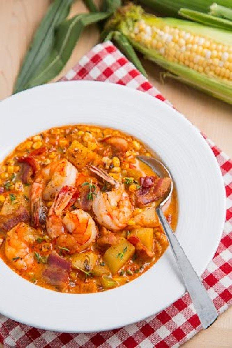 Shrimp and Roasted Corn Chowder Recipe | Just A Pinch Recipes
