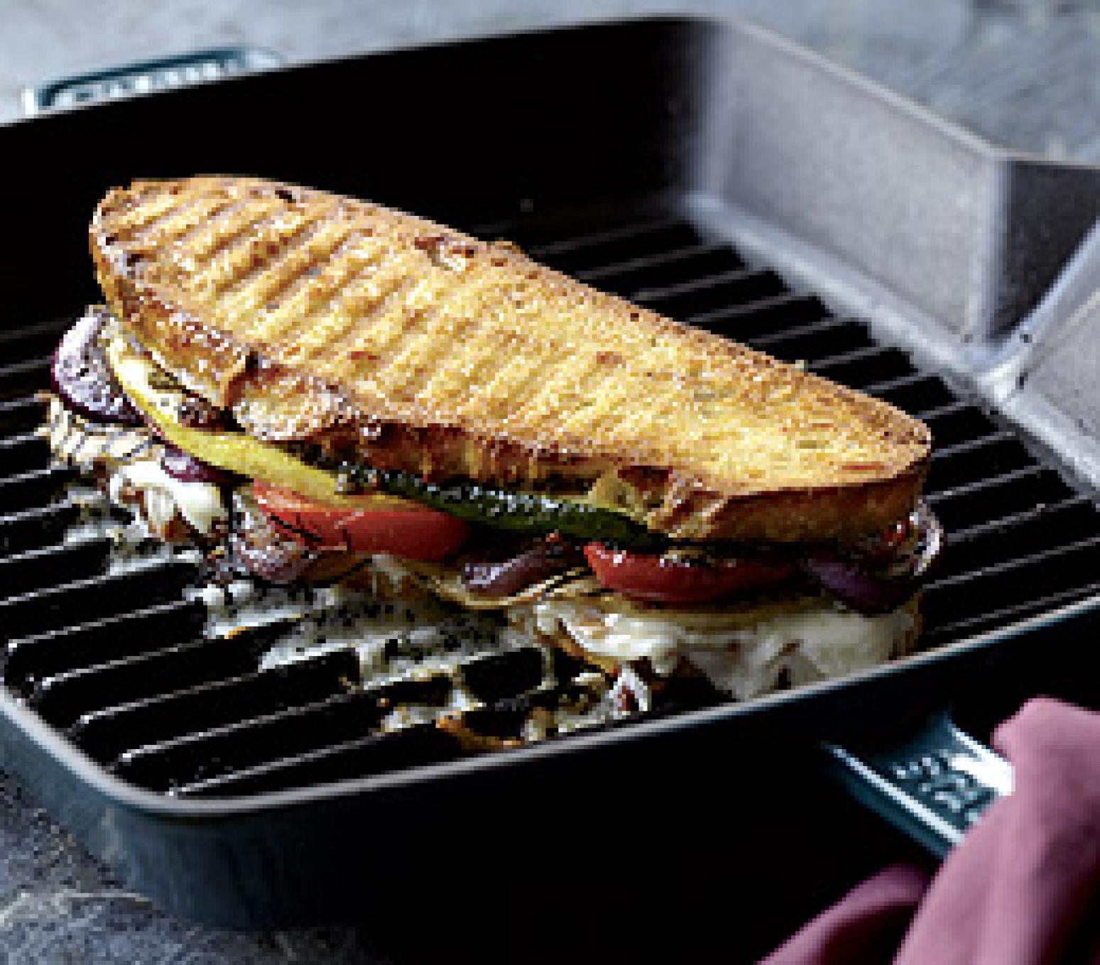Grilled Vegetable Panini Recipe | Just A Pinch Recipes
