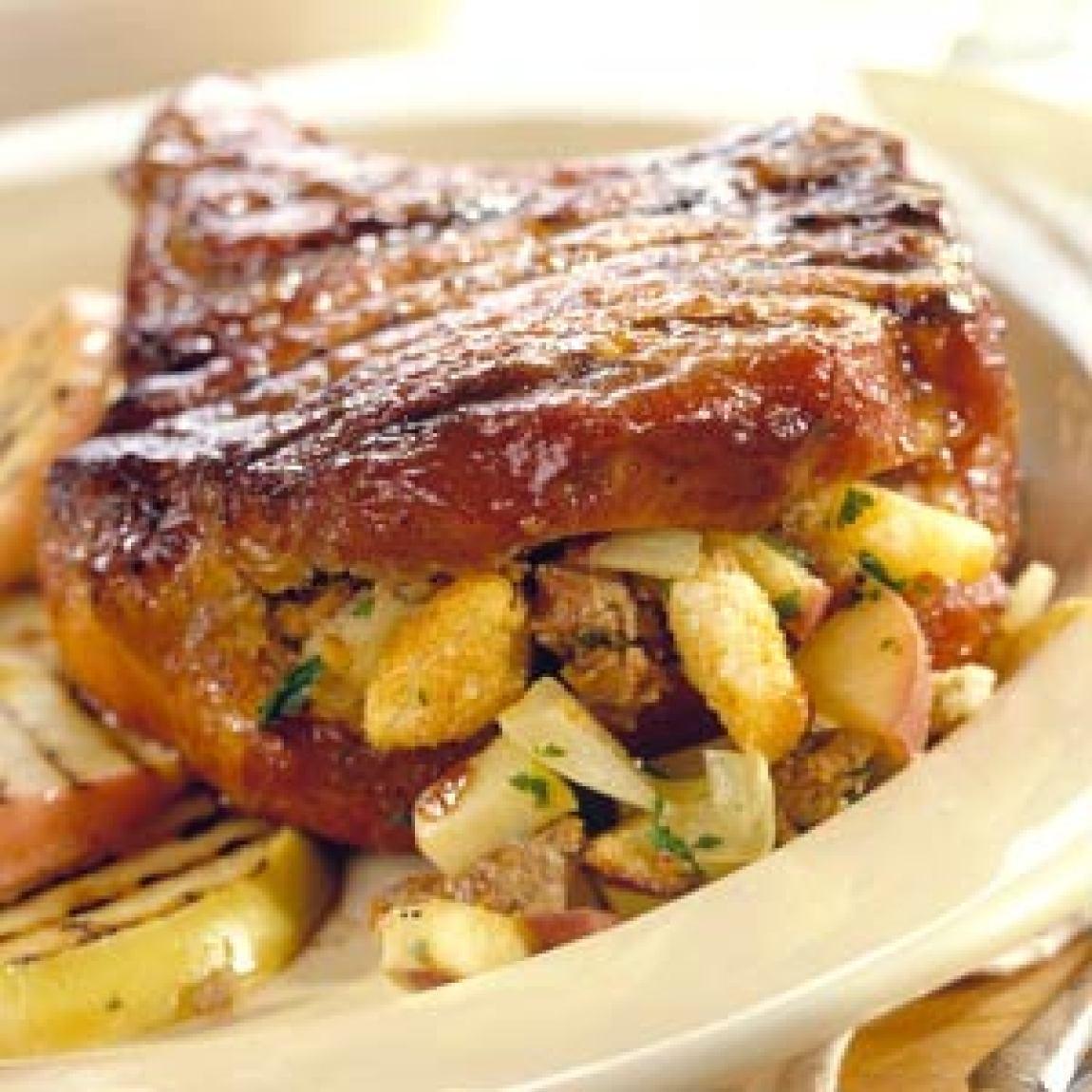 Apple-Stuffed Pork Chops Recipe   Just A Pinch Recipes