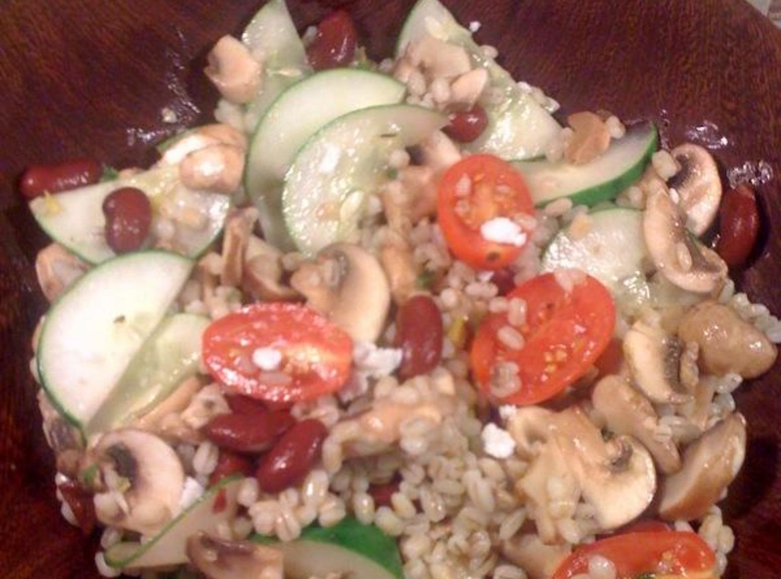 Mushroom Vegetable Barley Salad with Lemon Vinaigrette Recipe