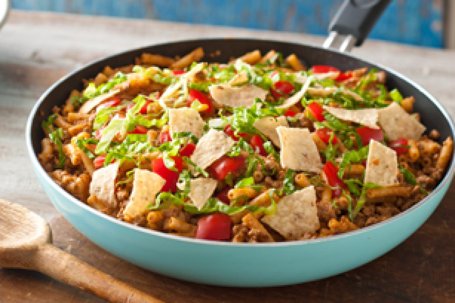 One-Pan Taco Beef and Noodle Skillet Recipe   Just A Pinch Recipes