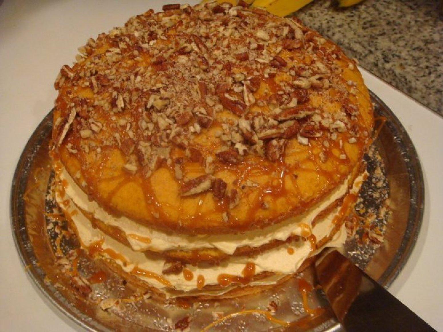 4 layer Pumpkin caramel pecan cake Recipe
