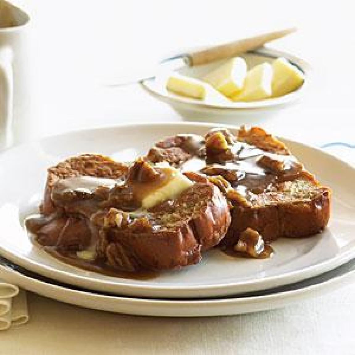 Toffee French Toast with Pecans Recipe | Just A Pinch Recipes