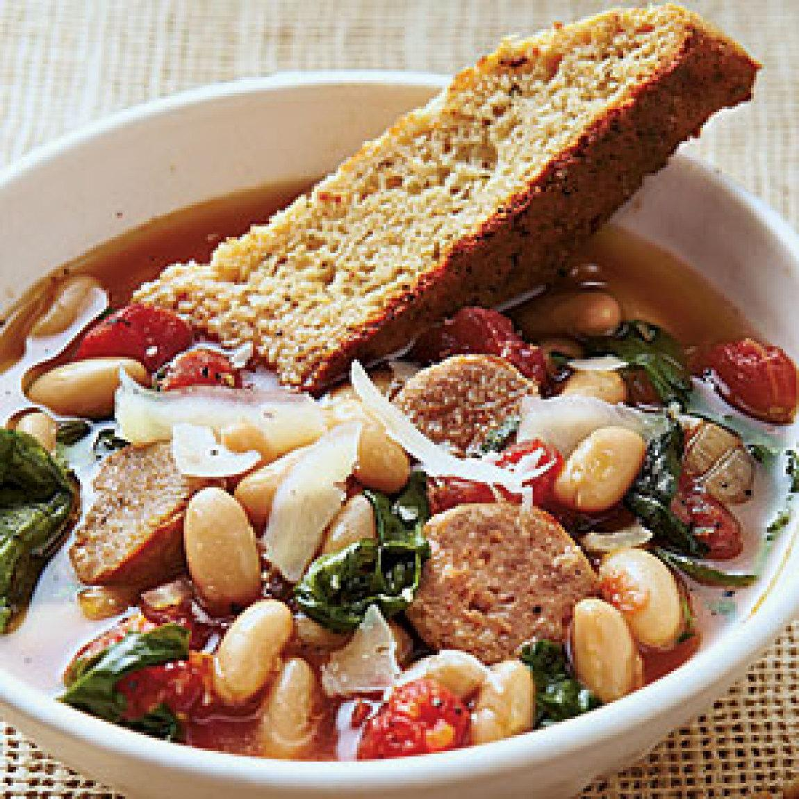 Hearty Italian Soup with Parmesan-Pepper Cornbread Biscotti Recipe ...