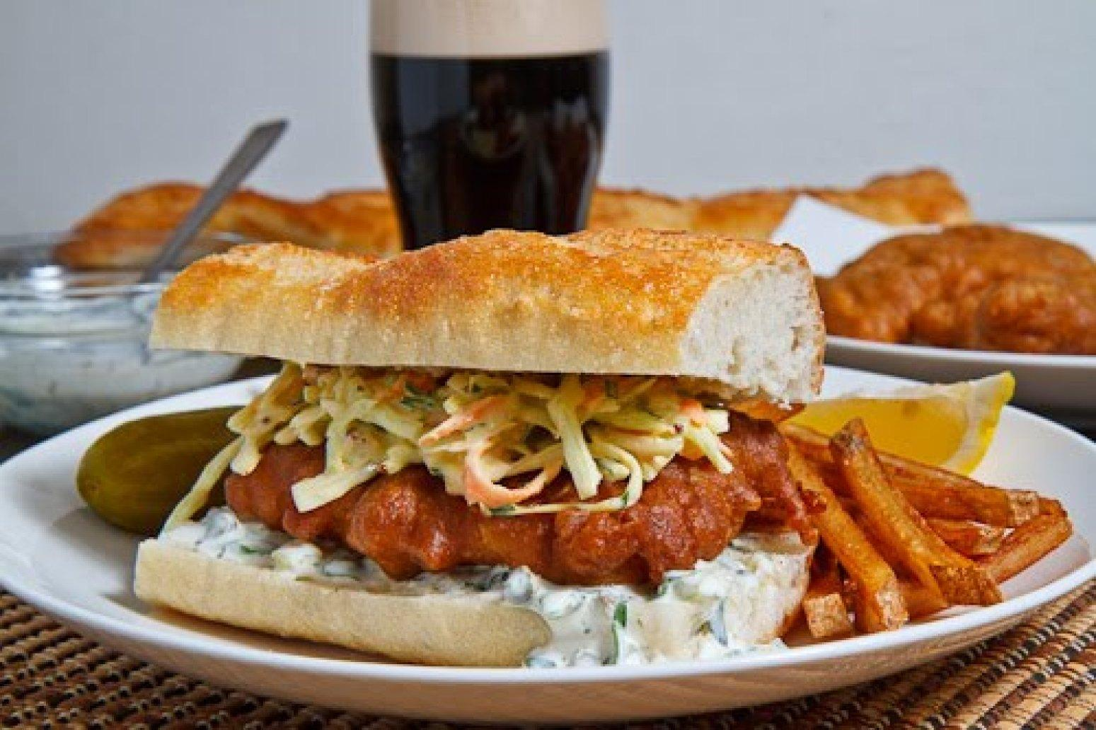 Crispy beer battered fish sandwich recipe just a pinch for Fish sandwich recipe