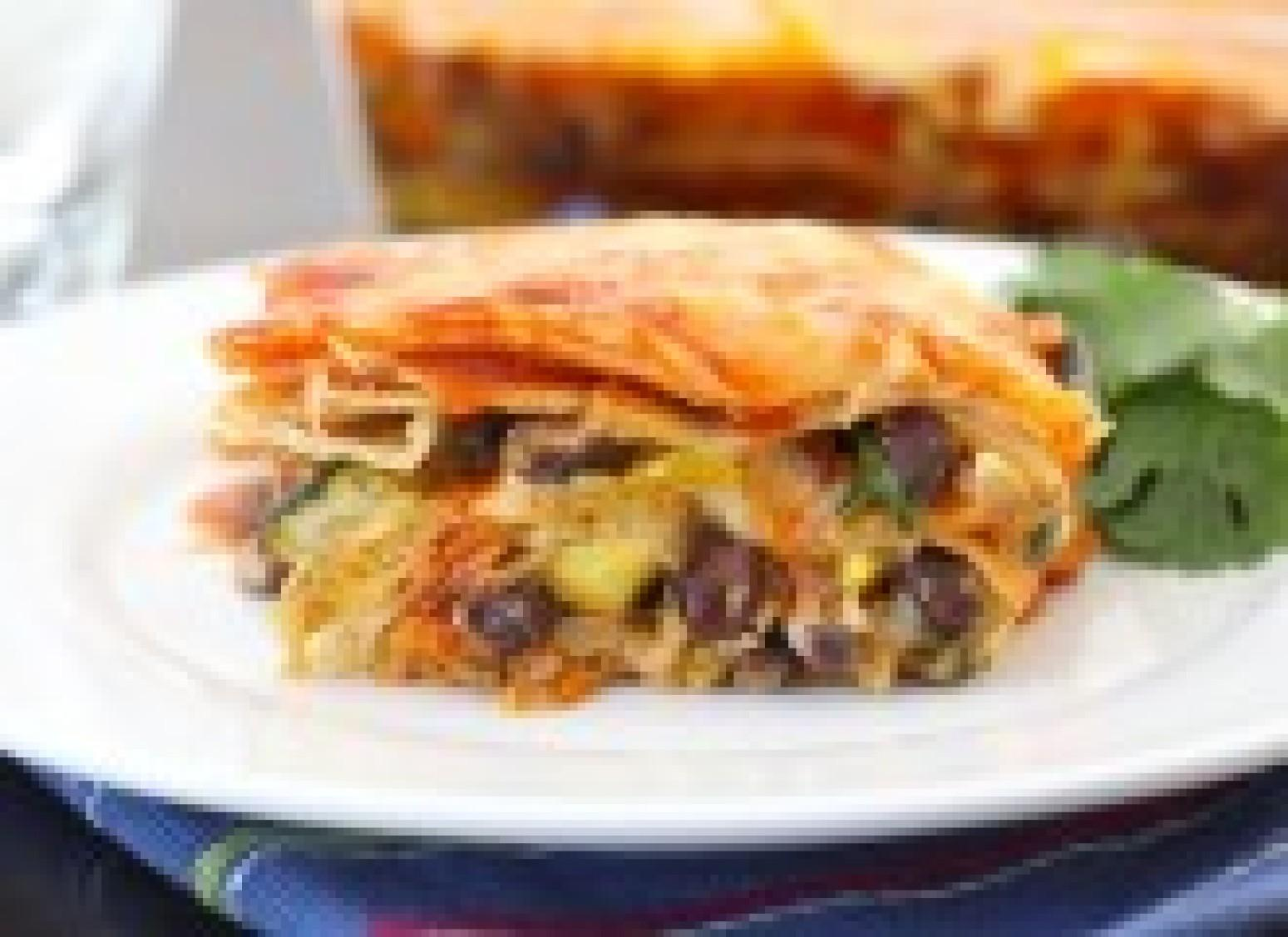 Roasted Vegetable Stacked Enchiladas Recipe | Just A Pinch ...