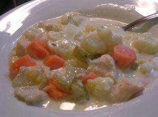 Cheesy Veggie Chowder with Chicken Recipe