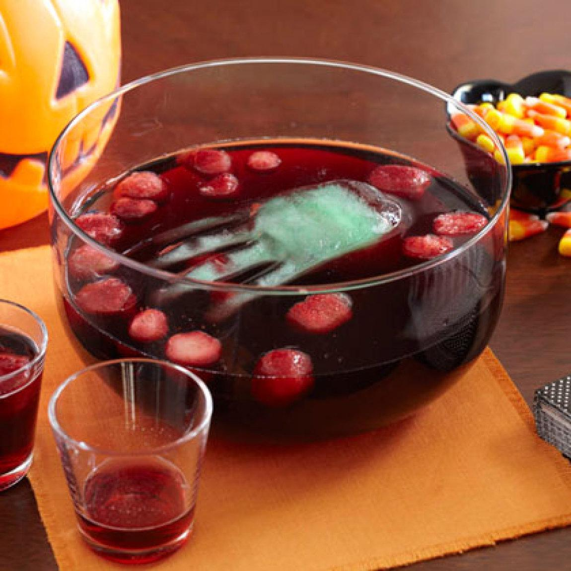 Bloody Punch with Floating Hand Recipe | Just A Pinch Recipes