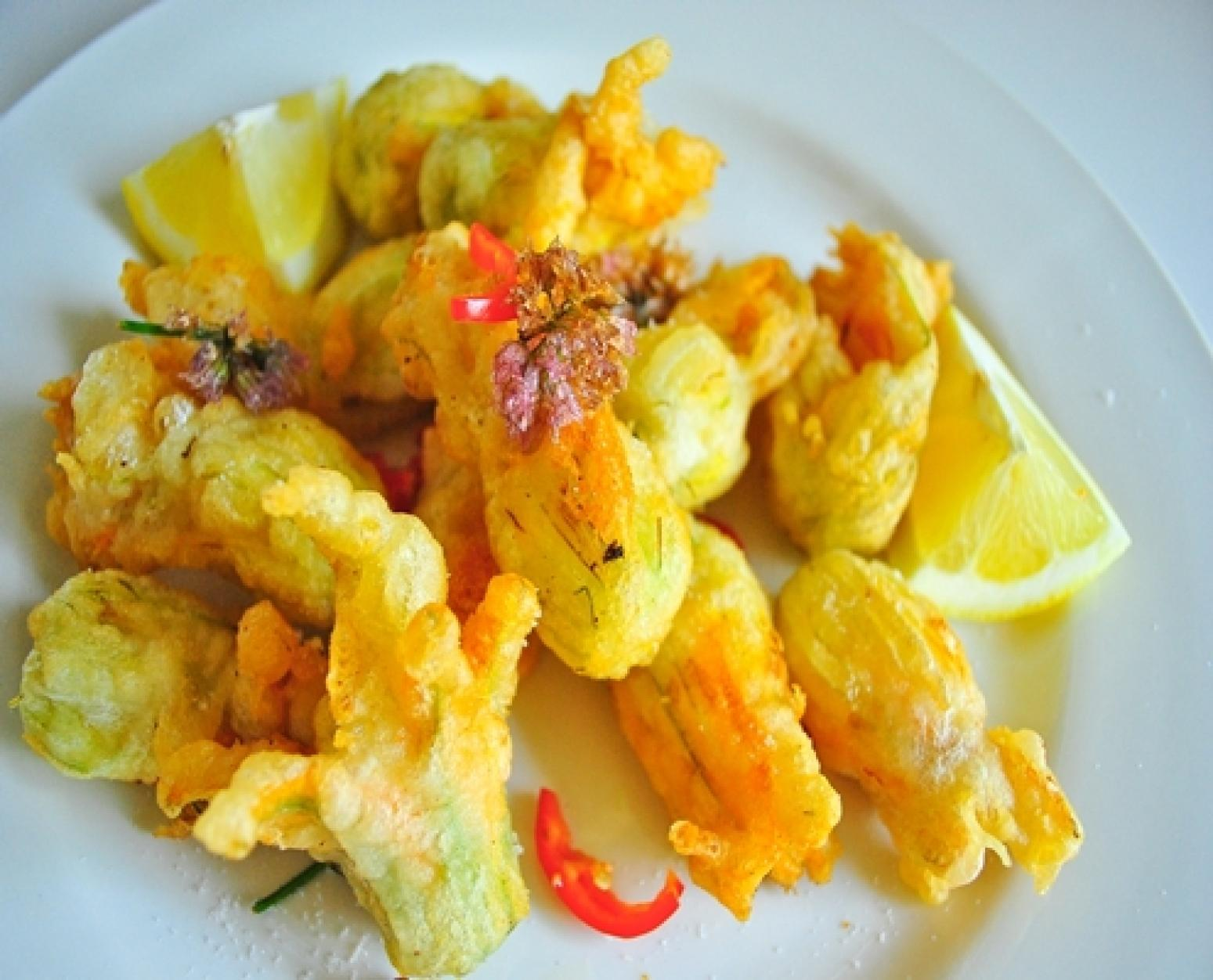 Crispy Zucchini Blossoms Stuffed with Goat Cheese and ...