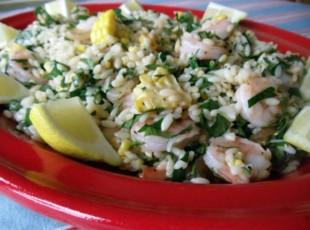 Roasted shrimp, corn, orzo, lemon, and parsley salad Recipe