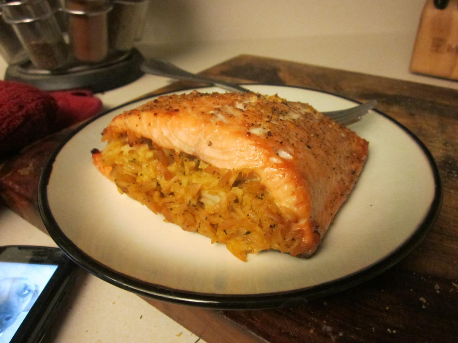Rice Stuffed Salmon Recipe