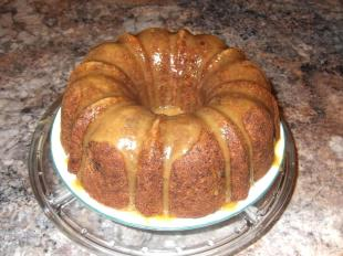 Fresh Apple & Black Walnut Cake with Caramel Glaze Recipe