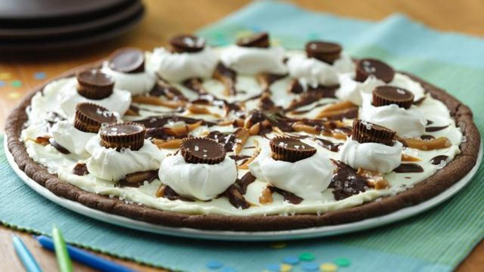 Chocolate Peanut Butter Cookie Pizza Recipe | Just A Pinch ...