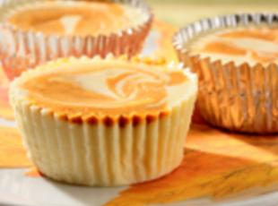 Mini Swirled Pumpkin Cheesecakes