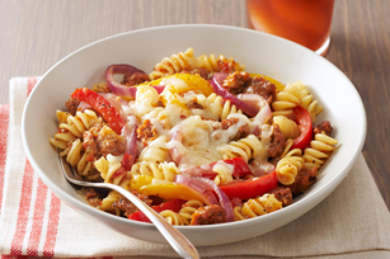 Sausage & Peppers with Rotini Pasta Recipe | Just A Pinch ...