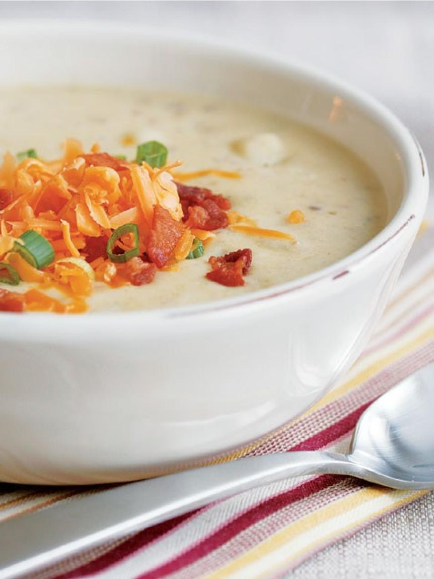 Baked Potato and Leek Soup with Cheddar and Bacon Recipe ...