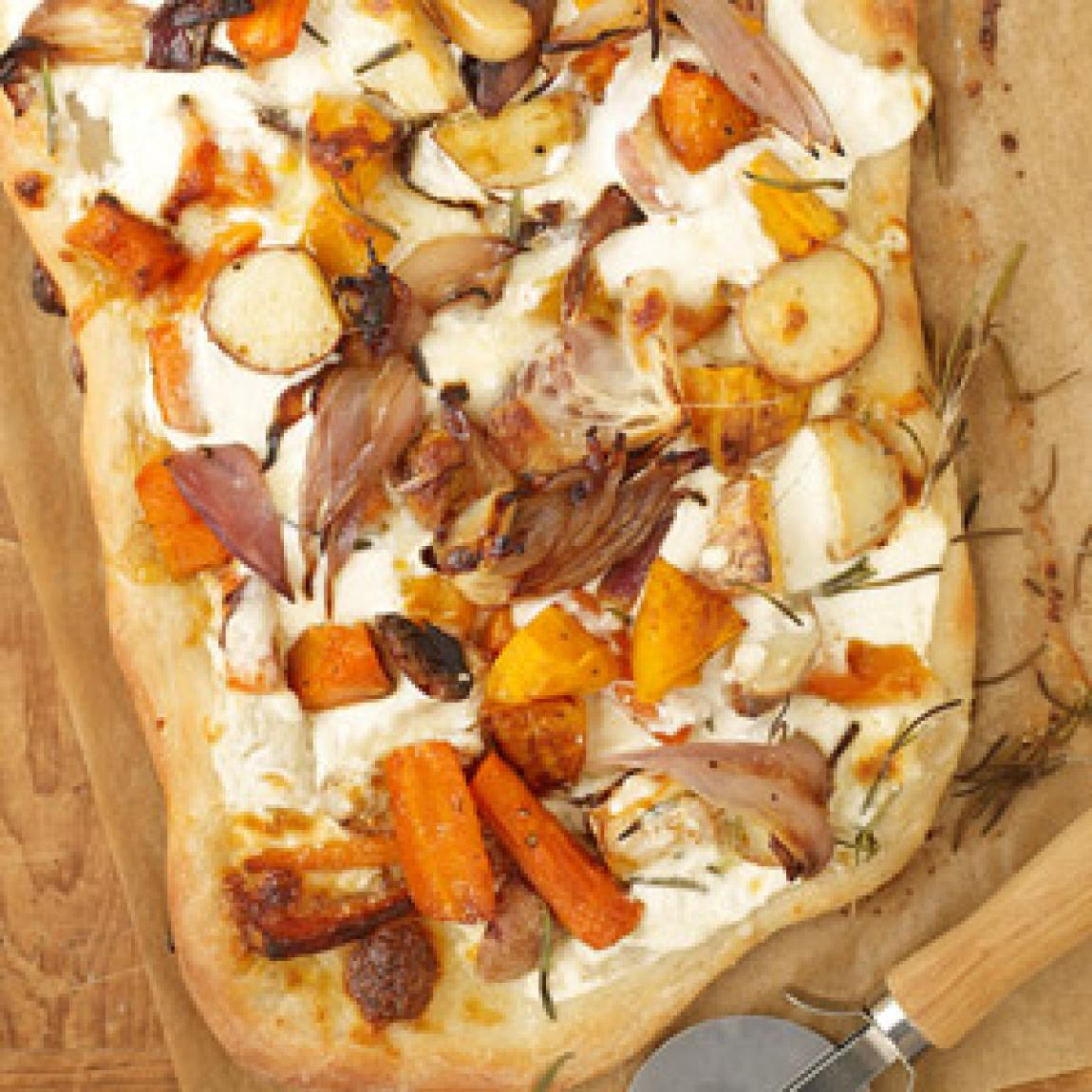 Roasted Fall Vegetable and Ricotta Pizza Recipe | Just A Pinch Recipes
