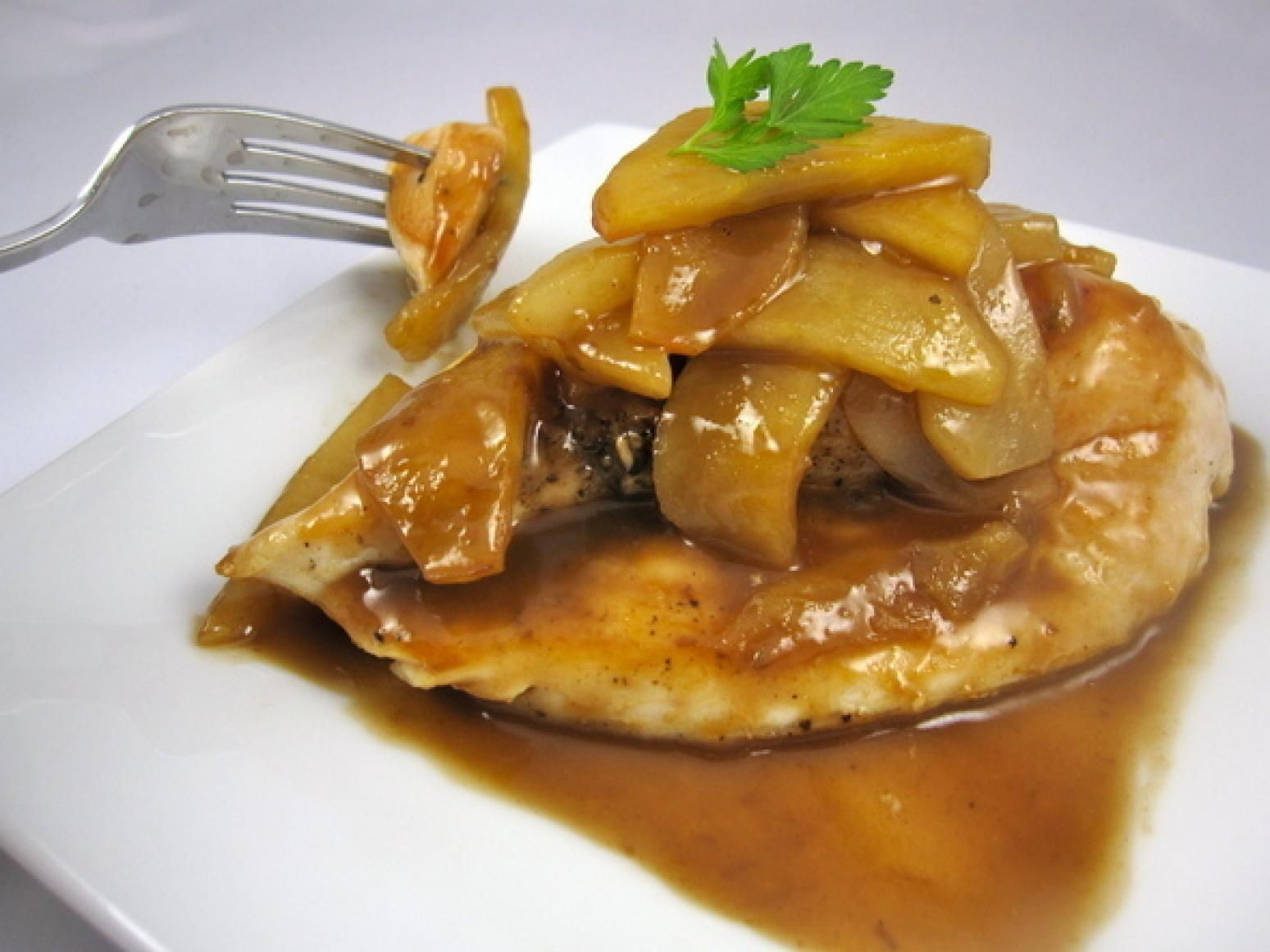 Sauteed Apples with Chicken Recipe | Just A Pinch Recipes