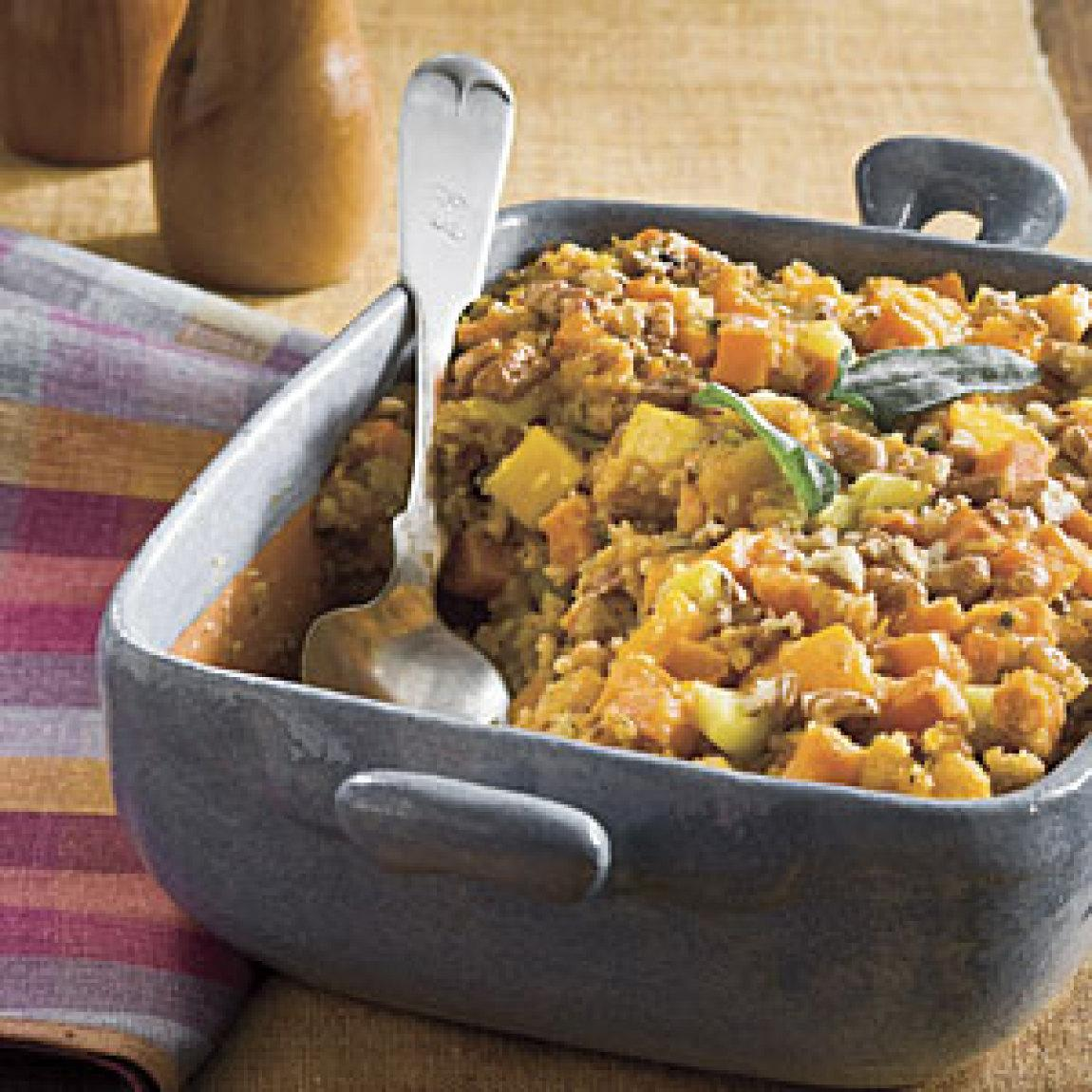 Cornbread Stuffing With Sweet Potato and Squash Recipe | Just A Pinch ...