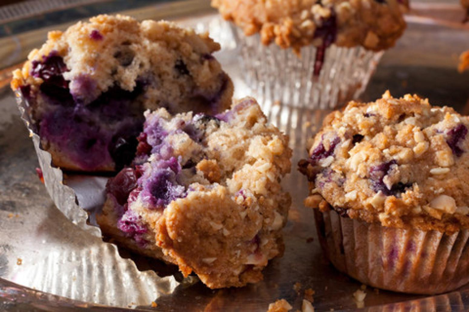 Whole-Wheat-and-Almond Blueberry Muffins with Streusel Topping Recipe ...