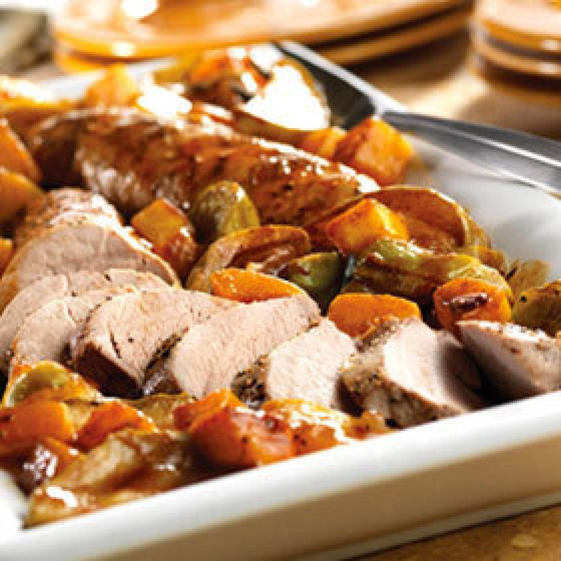 Pork Roast with Apples and Squash Recipe