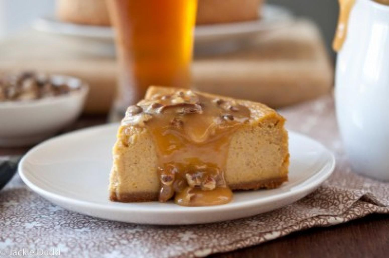 Pumpkin Ale Cheesecake with Pecan Caramel Sauce Recipe | Just A Pinch ...