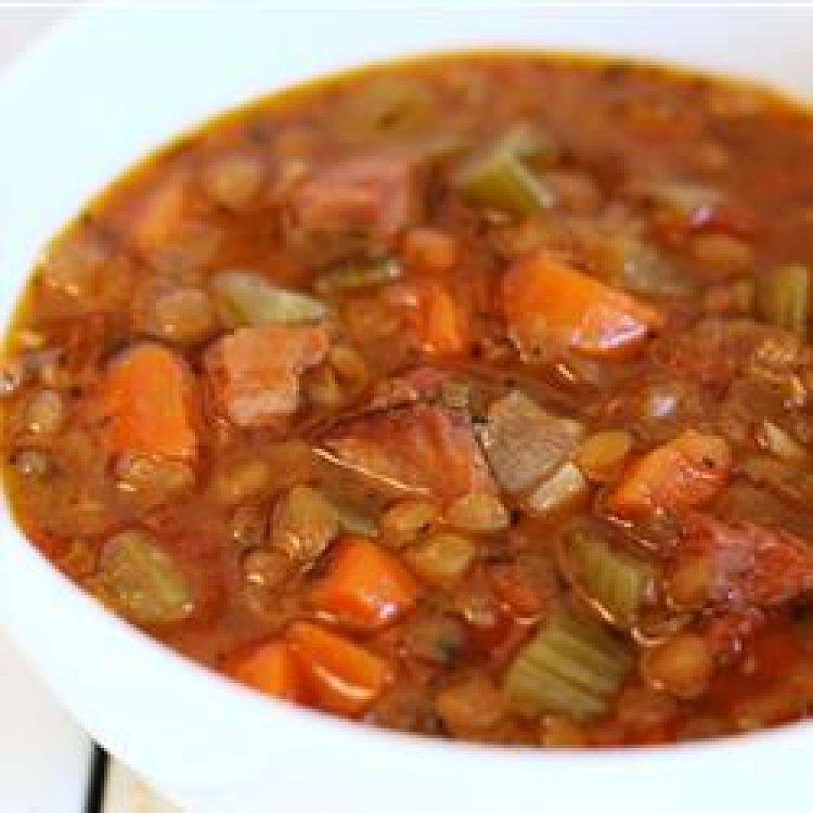 Slow Cooker Lentil and Ham Soup Recipe | Just A Pinch Recipes
