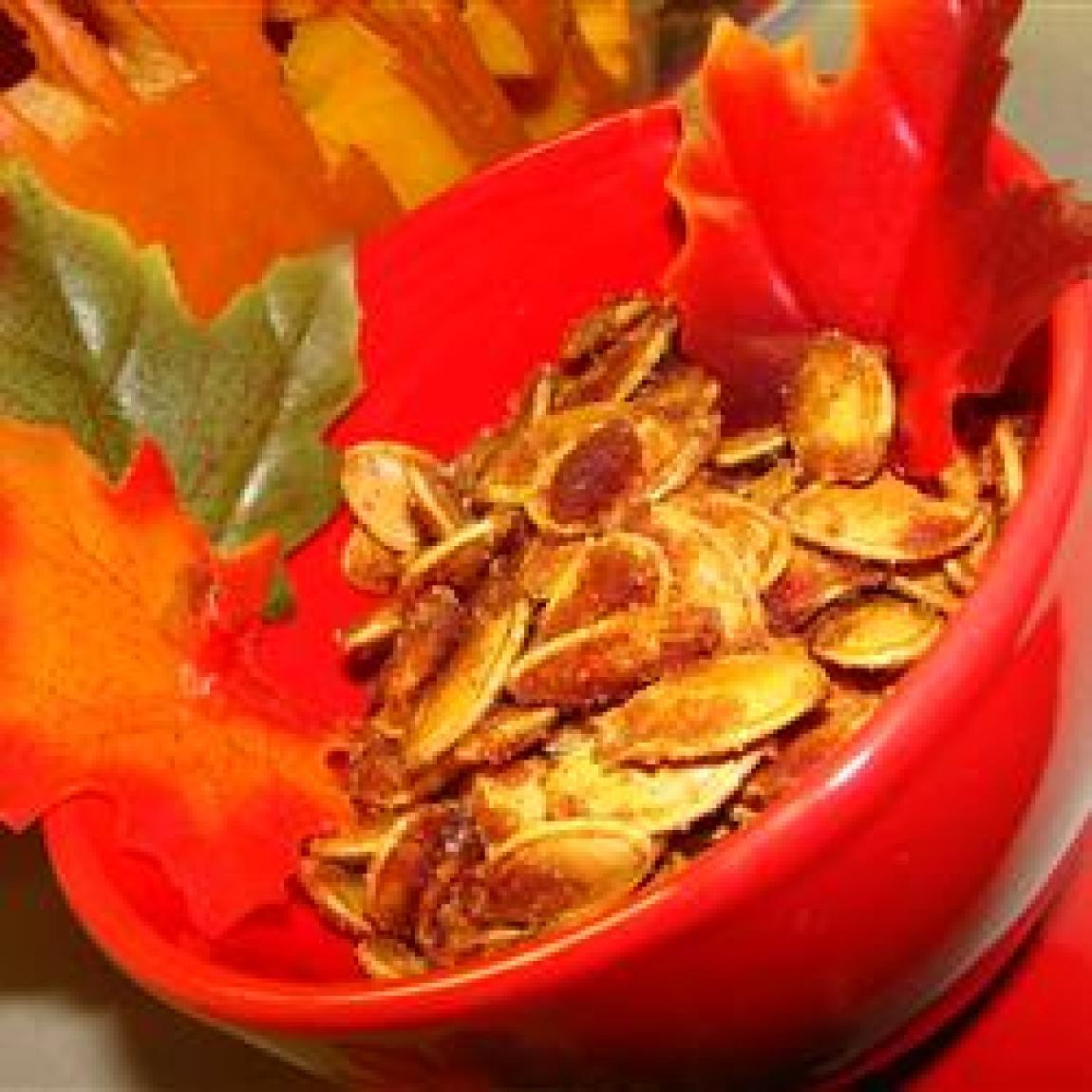 Caramelized Spicy Pumpkin Seeds Recipe | Just A Pinch Recipes