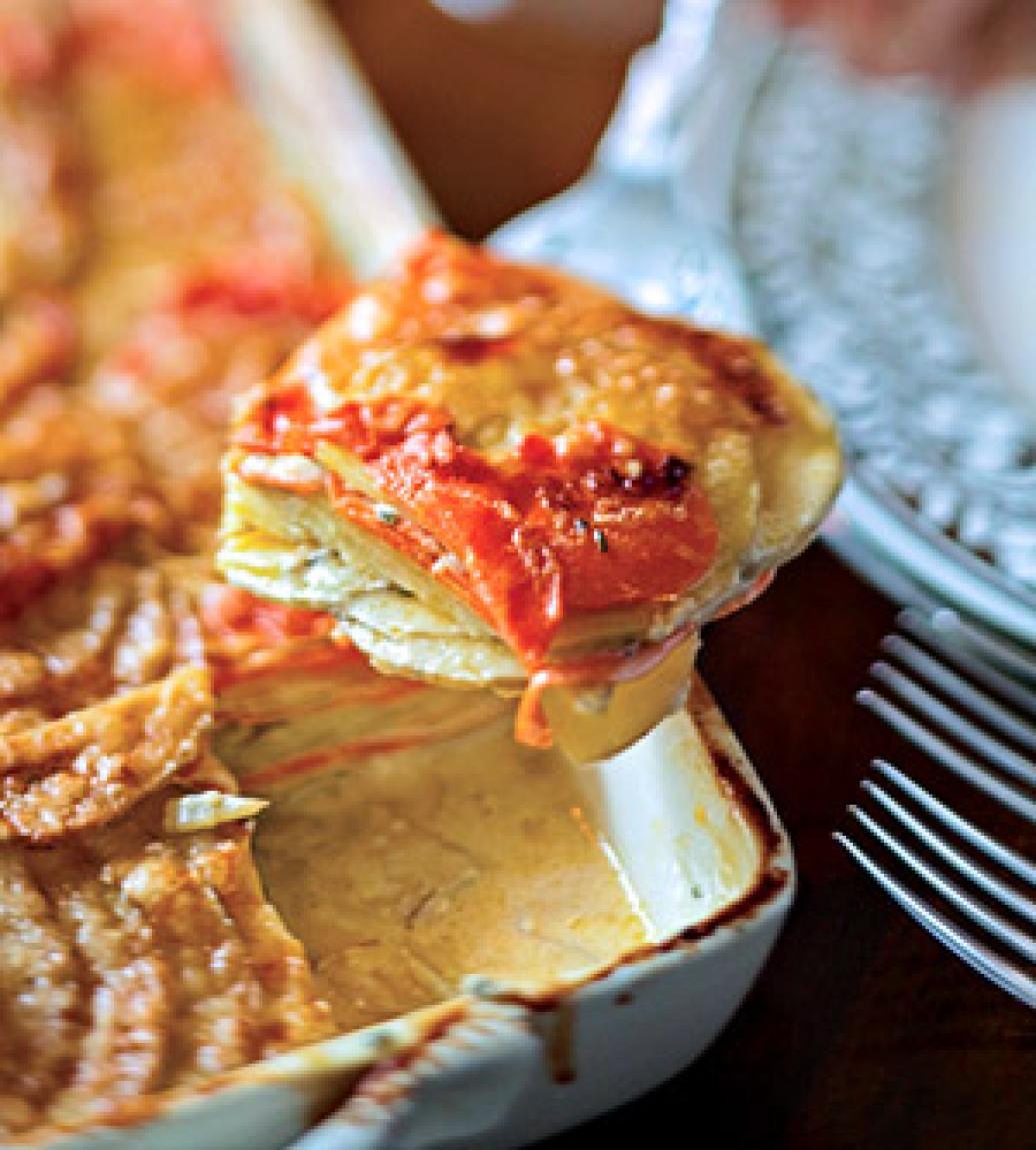 Golden Potato and Carrot Gratin Recipe | Just A Pinch Recipes
