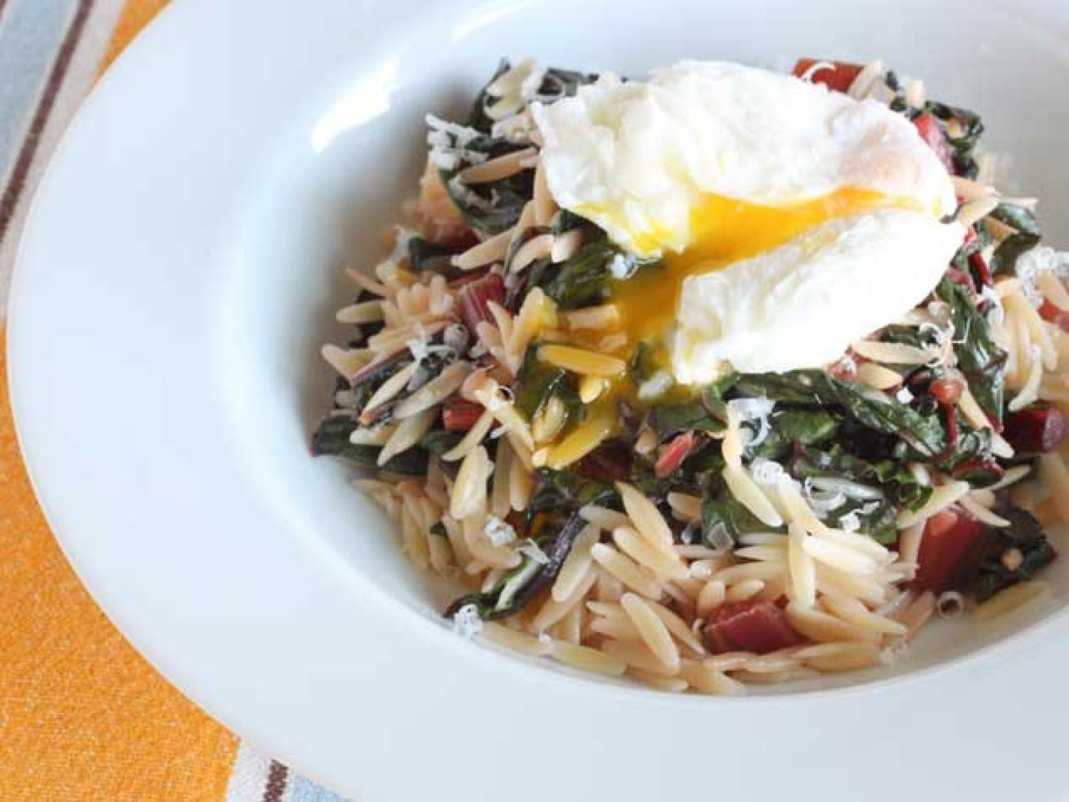 Creamy Orzo with Swiss Chard and Poached Eggs Recipe | Just A Pinch ...