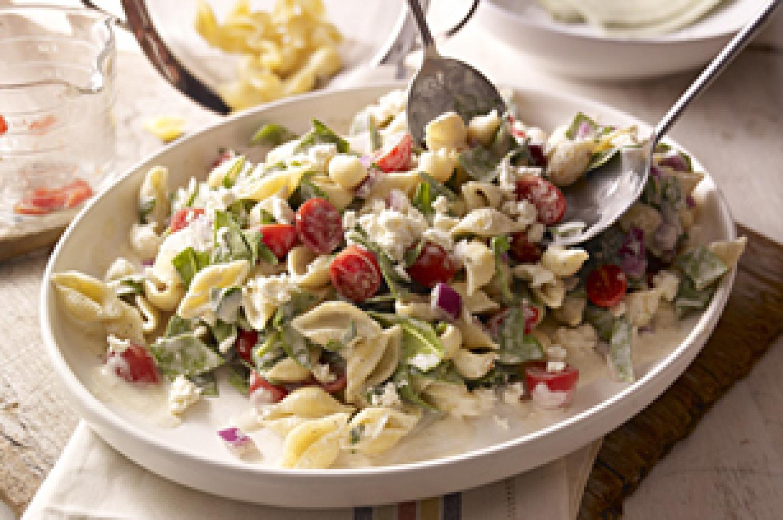 Creamy Mediterranean Pasta Salad Recipe 3 | Just A Pinch Recipes