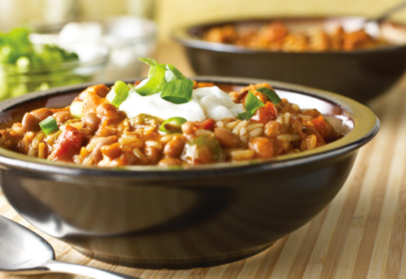campbell s kitchen one pot chicken chili amp rice recipe