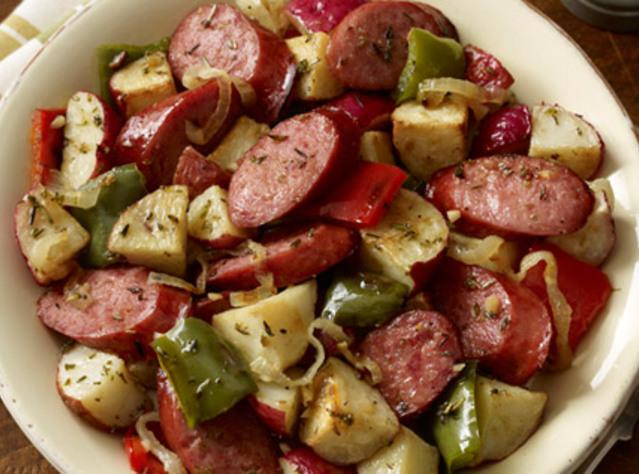 Hillshire Farm Sausage and Potato Bake Recipe | Just A Pinch Recipes