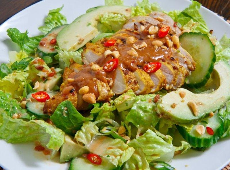 Thai Grilled Chicken Satay Salad Recipe | Just A Pinch Recipes