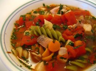 Garden Veggie Soup with Grilled Chicken Recipe