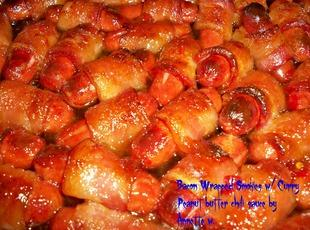 Bacon Wrapped Smokies w/Curry PB Chili Sauce Recipe