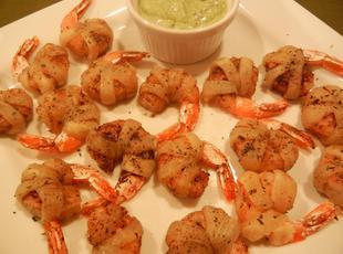 Pastry Wrapped Spiced Shrimp w/ Cilantro Dipping Recipe