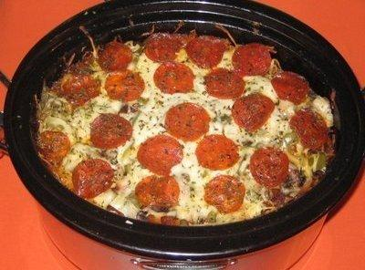 Crock Pot Pizza Casserole Recipe Just A Pinch Recipes