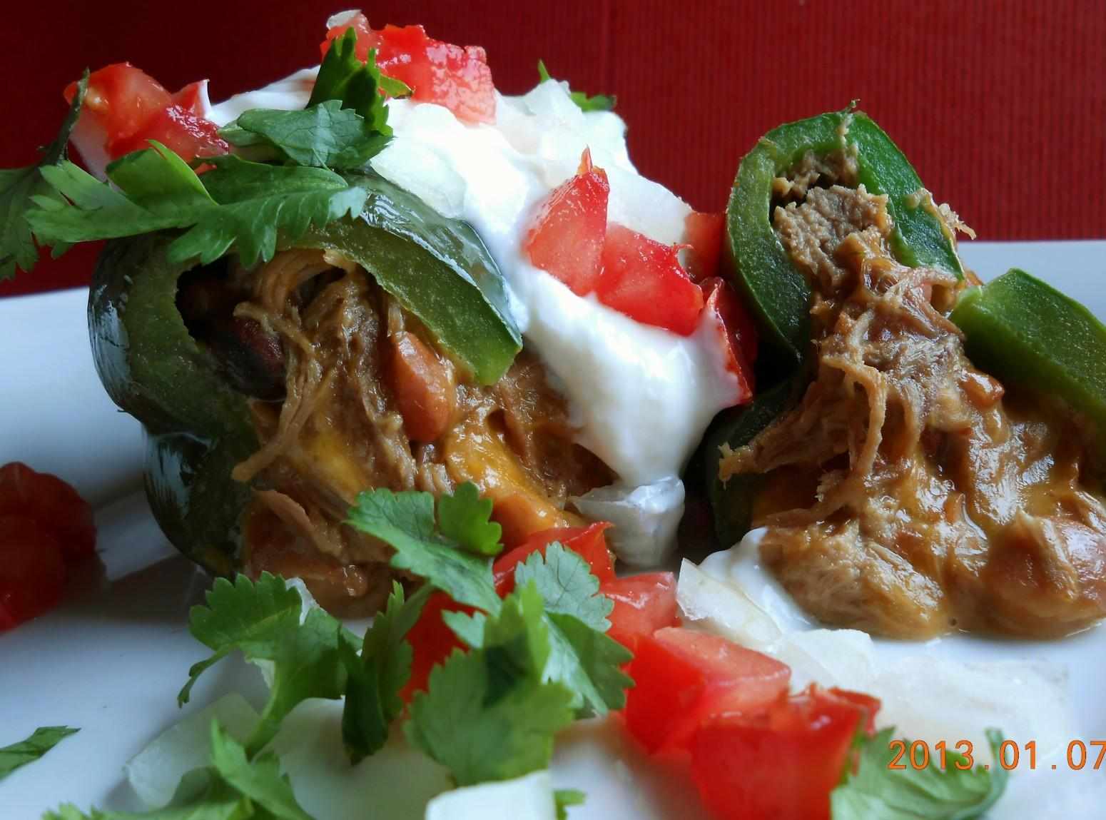 Meat Cheese and Bean stuffed Poblano Recipe | Just A Pinch Recipes
