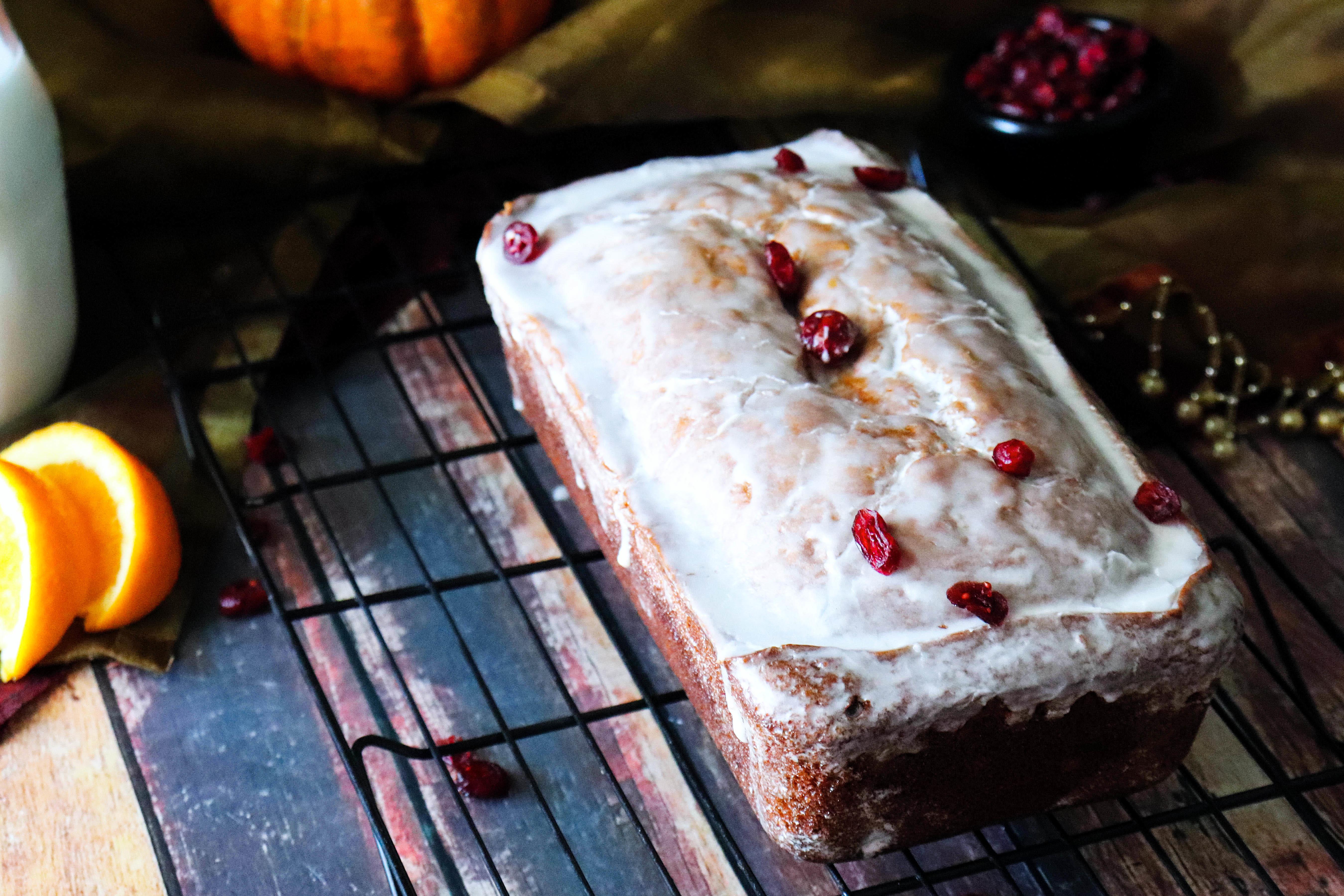 Pumpkin cranberry bread with orange glaze Recipe