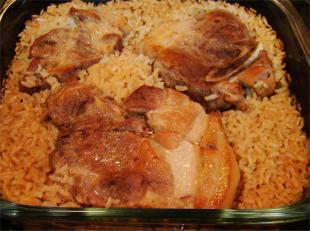Connie's Pork Chops Over Rice