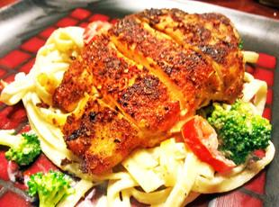 Blackened Chicken Breast with Fettuccine Alfredo Recipe