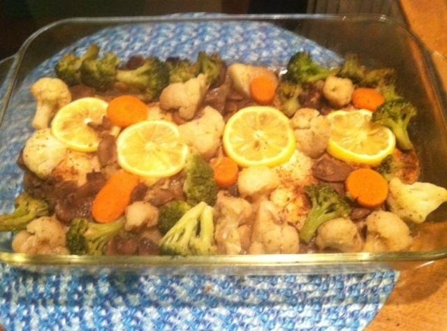 Baked tilapia with vegetables recipe just a pinch recipes for What vegetables go with fish