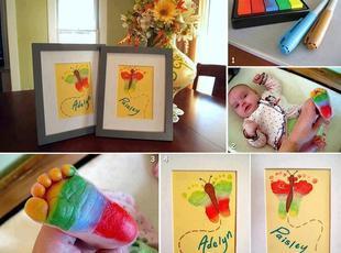 baby footprints butterflies (craft) Recipe