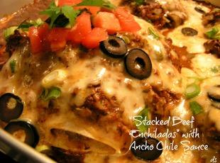 Stacked Beef Enchiladas with Ancho Chile Sauce Recipe